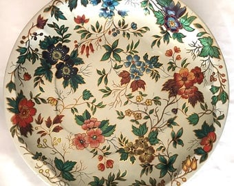 """Daher Decorated Ware 1971 Made in England Metal Floral Decorative Bowl, 10-1/4"""""""