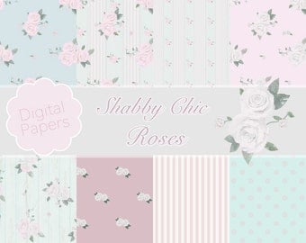 Shabby Chic Roses Pattern Digital Papers