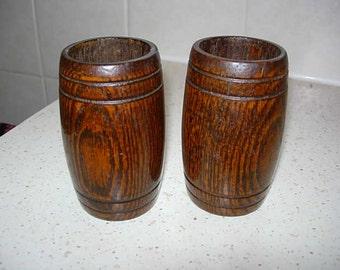 pair of oak spill vases
