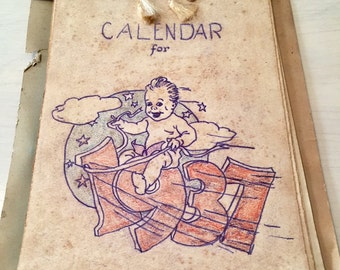 SALE- Vintage Calendar - 1937 - Ephemera