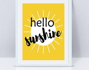 Hello Sunshine Art Print, Summer Decor, Digital File Download, Yellow Art Prints, Summer Art, Seasonal, Printables, Quote Prints