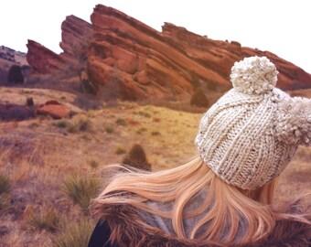Hand knit double pom pom hat, two pom pom beanie, double pom pom beanie, womens beanie, fun hat, beanie, warm beanie, winter hat