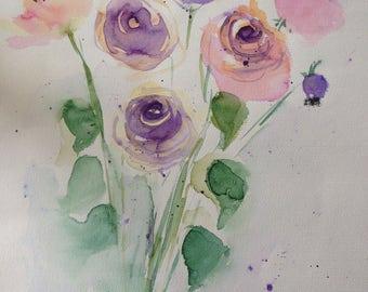 ORIGINAL WATERCOLOR watercolor painting flowers picture art of watercolour flowers