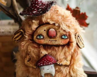 art doll soft plush fantasy creature sculpture art clay toysoft toy cute toy bright doll art spirit