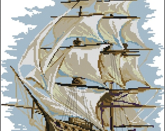 Cross stitch pattern PDF sailing ship, Cross stitch pattern PDF ship, Cross stitch pattern PDF sea,  Cross stitch pattern  yacht
