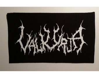 Valkyrja patch white logo black metal