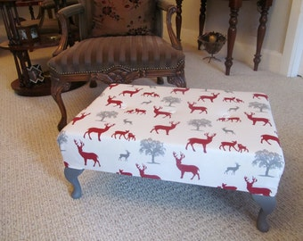 Footstool - large size - finished in a beautiful heavy weight cotton fabric