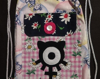 String Backpack Chaos Kitty Cotton Bears and Daisies Print