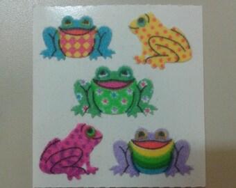 Sandylion Stickers Fuzzy Colorful Rainbow Frogs, Frog  (1 mod)