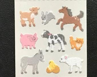 Sandylion Stickers Fuzzy Mini Farm Animals, Cow, Pig, Sheep, Chick, Pony, Rabbit, Horse (1 mod)