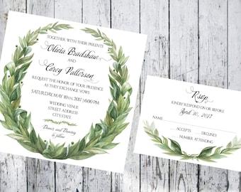 Square Laurel Wreath Wedding Invitation and Respond Card