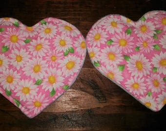 Pink daisy heart breast pads
