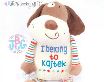 Personalised Cubby from Cubbies Pastel Dog Personalised Teddy Bear, Baby Gift Cubbie