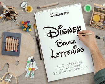 Disney type Brush Lettering Worksheets 21 pages to practice. PRINTABLE for Beginner Hand Lettering