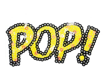 Free Shipping! Fun Color POP ! Comic Sequins Iron-On Patch, Sequin Applique