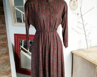 Vintage 1960s 1970s Day Dress | The Kollection Ltd | A Line Dress | 60s 70s Dress | USA ILGWU | Pockets | Size 4