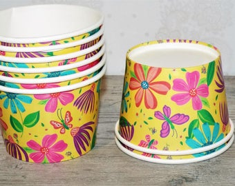 12 Floral Ice Cream Paper Cups 8oz. Great for treats or dessert. Party supplies.