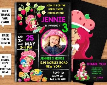 Strawberry Shortcake Invitation Strawberry Shortcake Girls Birthday Printable Invitation+Back Cover Strawberry Shortcake Party+ThankYou Card