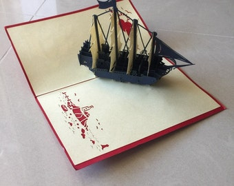 Boat Pop Up Card, Pop-Up Card, 3D Card, Greeting Card, Blank Card