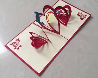 Love Pop Up Card, Pop-Up Card, 3D Card, Greeting Card, Blank Card