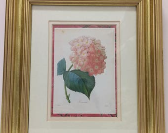 Vintage Rose Hydrangea Print Triple Matted in Gold Frame
