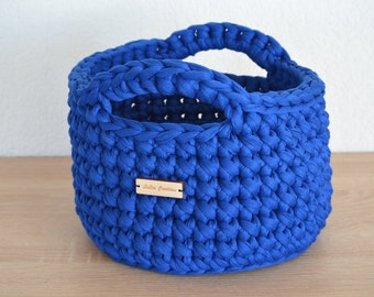 Basket blue textile yarn / / great looker and beautiful decoration / / for Krims Krams of all kinds / / gift and souvenirs