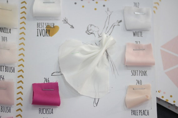 Wedding tulle silk fabric swatch chart soft lux tulle for Wedding dress fabric samples