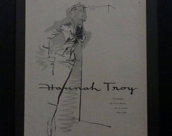 Hannah Troy, Esther Larson, Vintage Fashion, Vogue 1955, Illustration, Midcentury Fashion, Wall Decor