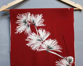 Red Silk Fabric with White gold pine Branches. Dramatic Vintage Kimono Silk. Craft supply