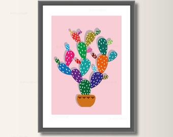 Cactus, art print, poster wall art, nursery decor, minimalist set pressure, minimal print
