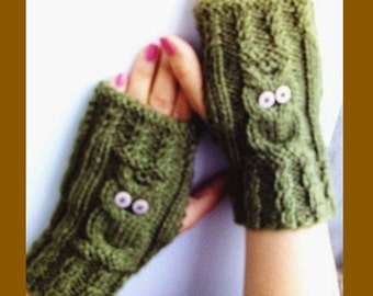Arm Warmers in Olive Green Fingerless Knitt ArmWarmers Knitted Gloves Knitted Accessories Owl
