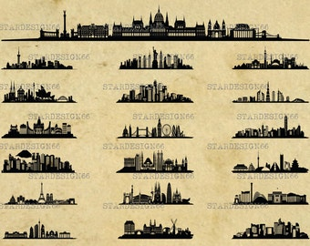 Digital SVG PNG JPG World Cities, skylines, landscape, monuments, metropolis, city scape, clipart, vector, silhouette, instant download