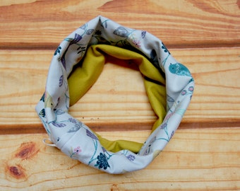 Reversible infinity scarf 6-36 months - birds