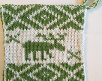 Hand Knit Moose Potholder