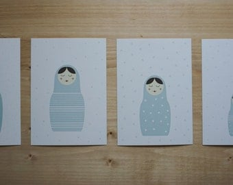 4 blue set postcards matryoshka