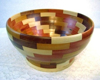 Beautiful Large Wood Bowl, Segmented Wooden Bowl, Housewarming Gift, Salad Bowl, Handmade, Hand Turned Centerpiece,  Beautiful Bowls, #003