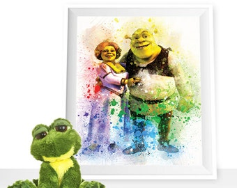 Shrek print, Shrek printable Fiona print Shrek watercolor, Fiona printable, Shrek wall art Princess Fiona poster, Shrek poster