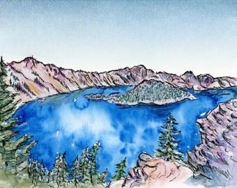 Crater Lake, Oregon: watercolor print
