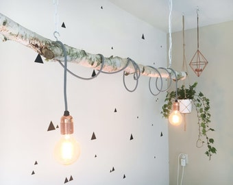 Handmade Birch Branch hanging lamp (incl. Edison lamps)