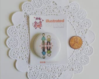 SALE | Illustrated Buttons - Various Designs