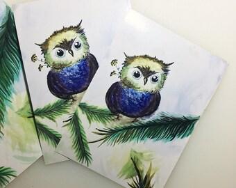 Glistening Owl - Watercolor Print