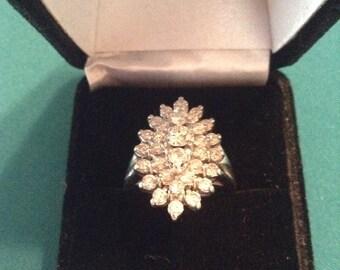 Gorgeous multiple diamond spray ring white gold band