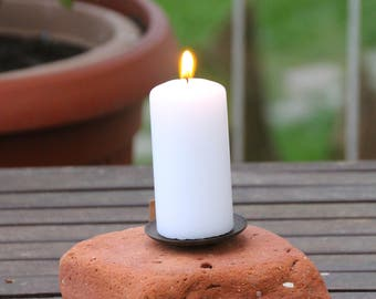 Round polished brick candle holder