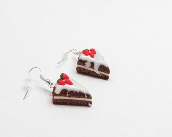 Cake earring charm Strawberry earring Piece of cake earring Holiday jewelry Gift her Sweet earring Miniature cake earring Romantic jewelry