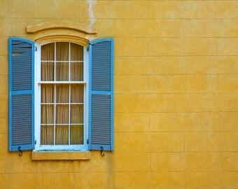 "Fine art photography color photograph Savannah Georgia historic rustic yellow blue shutters wall art home decor print ""Yellow Wall"""