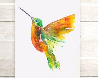 Original hummingbird painting-watercolor painting-watercolor-original original Hummingbird brusho wallart-zen ink-watercolors-colorful art