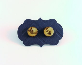 Laser Engraved Globe Stud Earrings