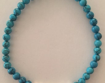 Handmade Bracelet - Turquoise Stone and Silver Plated Beads - Bracelet