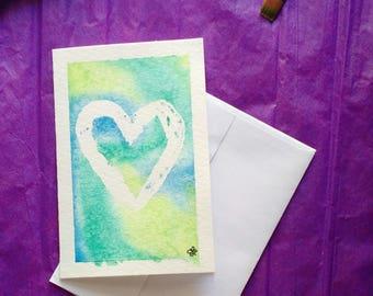 Hand-painted resist watercolor // tie-dye-esque greeting card // Heart Strings