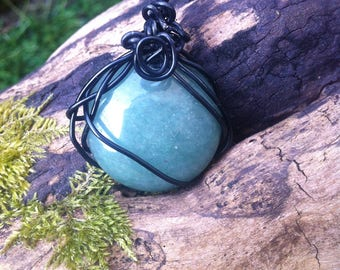 Jade wire wrapped pendant